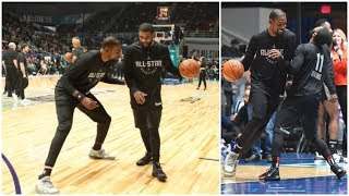 Kyrie Irving & Kevin Durant play one on one at All Star Game practice