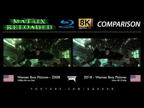 Blu-ray Versus - The Matrix Reloaded (2008 vs 2018) Comparatif 8K ULTRA HD