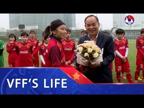 Chủ tịch LĐBĐVN Lê Khánh Hải thăm và động viên Đội tuyển nữ Quốc gia Việt Nam | VFF Channel - Thời lượng: 119 giây.