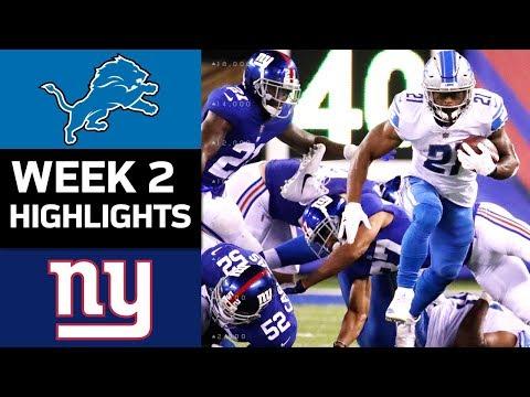 Lions vs. Giants | NFL Week 2 Game Highlights (видео)