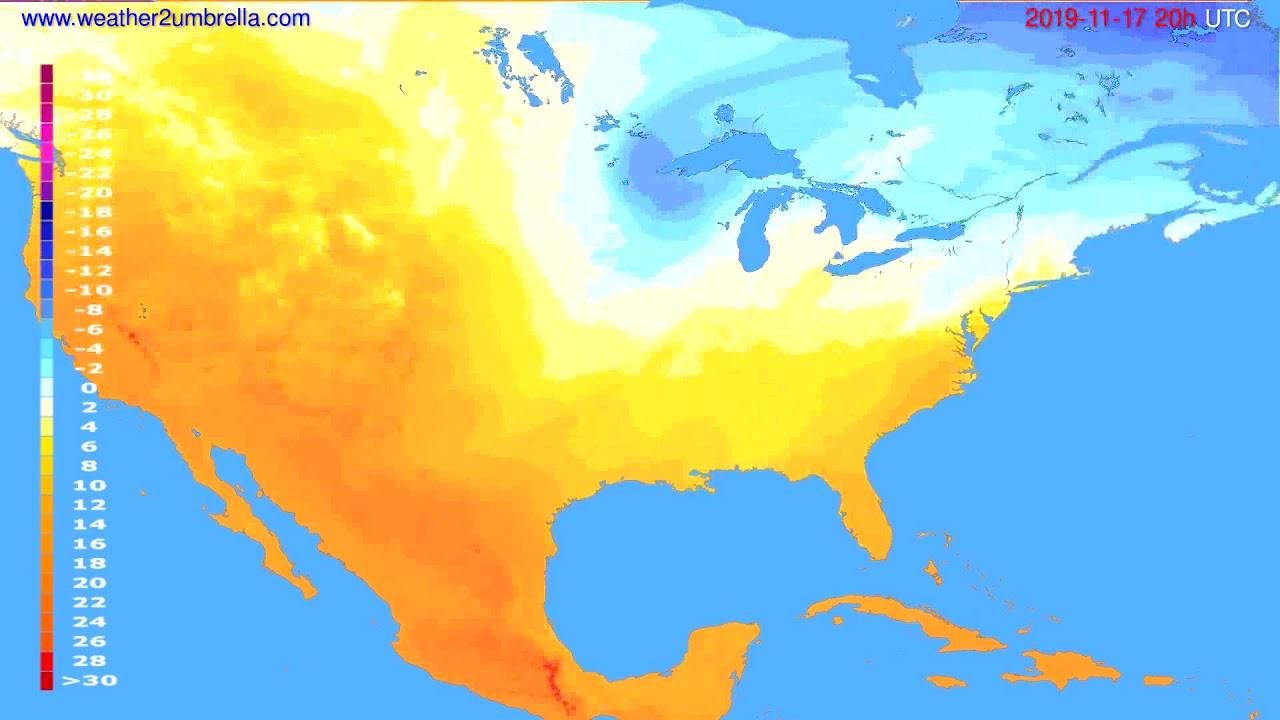 Temperature forecast USA & Canada // modelrun: 12h UTC 2019-11-16