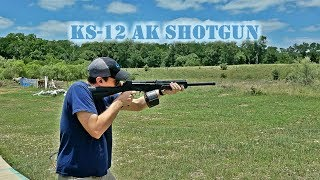 Hitting the range with Nick from TTAG to test out the new KUSA KS-12 shotgun...in slow motion! This is a 12-gauge, AK-47 based...