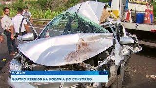 Quatro pessoas ficam feridas em grave acidente na rodovia do Contorno em Marília