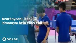 Polak Bartłomiej Hes złapany w ostatnim momencie.Baku 2015.Skoki trampolina