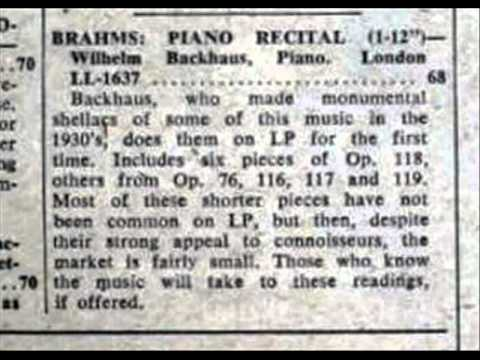Matthias Backhaus - In this recording made November, 1956 at Victoria Hall in Geneva, Wilhelm Backhaus (1884-1969) performs the Capriccio in B minor, Op. 76, No. 2 by Johannes B...