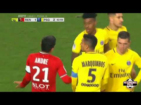 Stade Rennes vs PSG 1-4 Resumen Highlights Goles Goals 16/12/2017