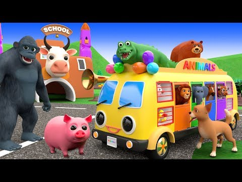 Video Wheels On The Bus Nursery Rhymes Songs For Kids - Learn Wild Animals Names & Sounds download in MP3, 3GP, MP4, WEBM, AVI, FLV January 2017