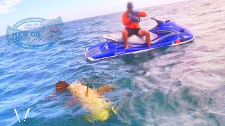 Man catches Huge Grouper Landed on Jet Ski Fishing In Rough Seas of the coast of Florida - Caught On CameraCapt Ben landed the first ever giant goliath grouper from a jetski fishing in rough seas off the coast of Florida. Amazing catch on camera and the first of it's kind. Be sure to check outhttp://www.youtube.com/realsaltlifefor more great videos.▬▬▬▬▬▬▬ About Chew On This ▬▬▬▬▬▬▬Chew On This provides the viewer a first hand look at catching mean aggressive high intensity fish fishing videos on the web. Captain Ben Chancey does fishing at its pinnacle and highest level of difficulty. Captain Ben has caught giant fish on just about everything including paddleboards, Kayaks, floats tubes, ultra skiffs, bay boats, flats boats, sportfishers and even gheenoes. Chew On This videos and content have been featured on Discovery, National Geographic, Today Show, Good Morning America, Fox News, ESPN, Fox Sports, The Weather Channel and many more! ► NEW VIDEO EVERY WEDNESDAY► Click Here to Subscribe → http://bit.ly/1tQiHaf► Find out More about boat → http://ultraskiff.com► Website → http://chewonthis.tv• Instagram → http://instagram.com/captchancey• Twitter → http://twitter.com/#!/captchancey• Email → captchancey@gmail.com• Snapchat → chewonthisfish Ben Chancey▬▬▬▬▬▬▬ PROMOTIONS ▬▬▬▬▬▬▬Remote Battery Boosterhttp://www.safetyboost.com#safetyboost.com#chewonthis#saltlifeClick Here to Subscribe! ► http://bit.ly/1tQiHaf▬▬▬▬▬▬▬ BRANDS WE USE ▬▬▬▬▬▬▬• HUMMINBIRD• Salt Life• Minn Kota• Diawa• Safety Boost Remote Battery Booster▬▬▬▬▬▬▬ RELATED VIDEOS ▬▬▬▬▬▬▬Tiny Creek Fishing after a Flood? (Surprise Catch!)https://www.youtube.com/watch?v=eFw250sA1uI&t=9sBest Fishing Lure for Bass and Snakeheads! DOOMSDAY TURTLE LURE?!https://www.youtube.com/watch?v=Yqn-RypJsHY&t=19sCreative Man Make Deep Hole Eel Trap With Water Pipe Catch A Lot Of Eels Near My Villagehttps://www.youtube.com/watch?v=8lBAIRqL4pA