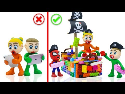 SUPERHERO BABY BUILDS LEGO PIRATE SHIP TOYS 💖 Cartoons Play Doh Stop Motion