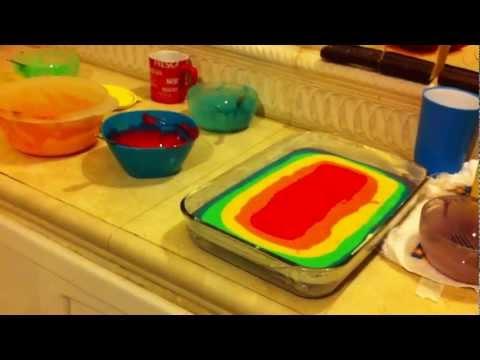 como hacer pasteles - Una forma fácil de hacer un arcoiris en un pastel :)