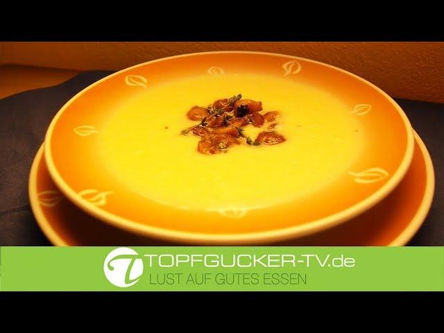 Weiße Winterwurzel Suppe mit glacierten Thymian-Maronen   Rezeptempfehlung Topfgucker-TV