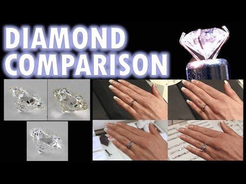 Diamond Size Comparison Color Clarity 2 Carat 1 Ct Ring on Finger Hand 3 .5 1/2 Cut Price vvs women