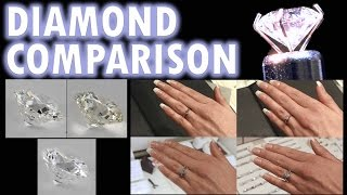 *Website from Video*: http://goo.gl/6goze8-Make sure you search GIA diamonds from these websitesDiamond Size Comparison Diamond Color Comparison Clarity Cut2 Carat 1 Ct Ring on Finger Hand 3 4.5 12 .75 Price vvs womenThat leads me to Carat. Carat is actually the diamond weight measurement. With longer angles on the lower half of the diamond it is longer which means the diamond weighs more which then means the diamond carat is higher without looking bigger. Since the biggest factor in diamond price is carat it then sells for more.  This is a diamond size comparison on the finger or hand. From 1/2 carat to 3 carats. More on their prices later.Clarity is next on our list of comparisons. Clarity grade is measured from Flawless to VVS1 and 2 to VS's to SI's and I's. The Higher on the scale the less visible the defects and lower amount of defects. Defects range from chips, to feathering, to cloudiness. Lets start with a vvs2 diamond. You can see here the diamond looks very nice. No visible defects. Looks good. Now at first glance this SI2 Diamond looks good. Especially at a diamond store with impressive lights. But here you can see its defect. Even this I-1 is difficult to see its big defect unless you know how to look for it.Now here you can see is a better way to compare diamonds from a diamond website I will link to in the corner of this video and in the description below. Its better because it uses a light and certain settings on a 360 camera so you can see the defects better than at a diamond store. Another note often diamond stores will hide these defects under the diamond clasps that hold them in the ring. To avoid tricked by retailers and their fancy lights going by the certification is your best bet no matter where you buy your diamond. More to come on certification.