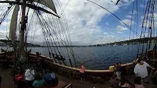 We've boarded the Pirate Ship Lady Washington in Seattle's Lake Union district. Get a 360 look at the ship, its crew, downtown Seattle on one side and Gas Works park on the other.