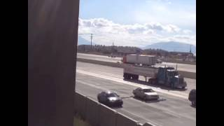 Some dingaling dropped a ladder on I-15 in Orem, Utah. How would you react to this obstacle?