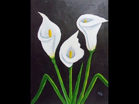 How to Paint Spring time Calla Lillies in acrylics on canvas Beginner Painting tutorial