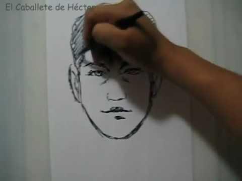 Dibujo - Retrato ( canon del rostro ) como centrar un rostro en una hoja de papel
