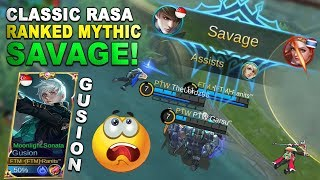 Classic Rasa Ranked Mythic - Gusion / Gossen Build And Gameplay Savage Kill - Mobile Legends