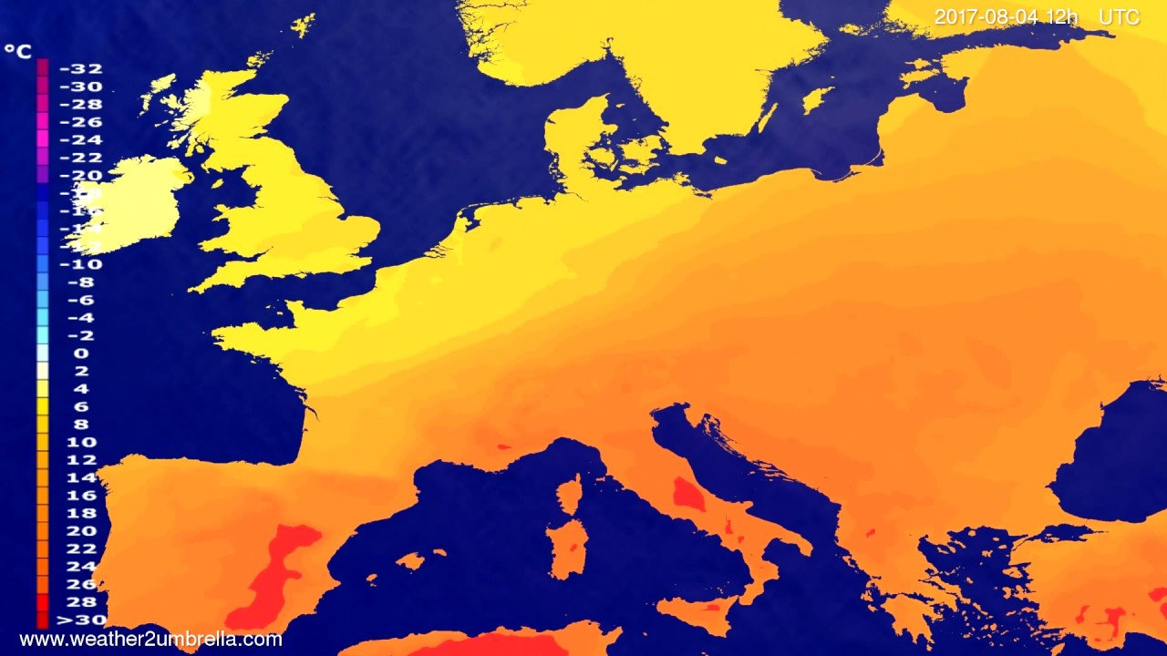 Temperature forecast Europe 2017-07-31