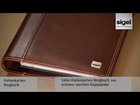 Sigel VZ204 Torino Visitenkartenbuch A5+ Leder, 4-Ring, schwarz, Nappaleder, 160 Karten
