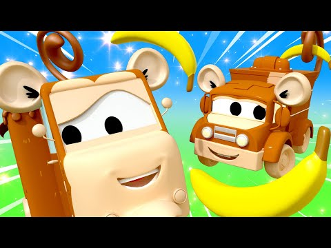 Five little monkeys Nursery Rhymes Songs for Children with Trucks of Car City