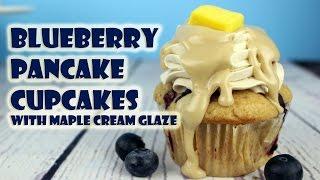 Blueberry Pancake Cupcakes with Maple Cream Glaze (vegan) || Gretchen's Bakery by Gretchen's Bakery