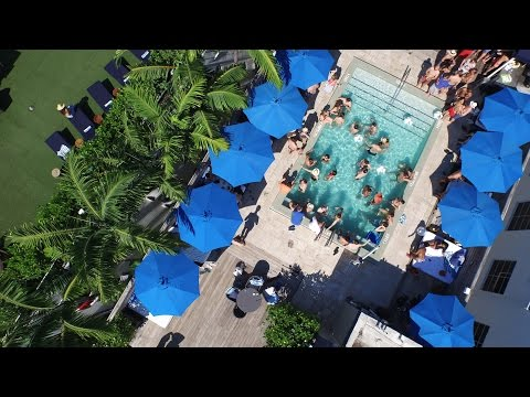 Aerial Video Miami Beach Pool Party At Catalina Hotel Rooftop
