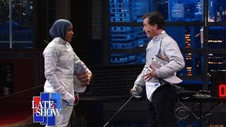 Video Late Show Fencing Challenge: Stephen vs. Ibtihaj Muhammad MP3, 3GP, MP4, WEBM, AVI, FLV Mei 2018