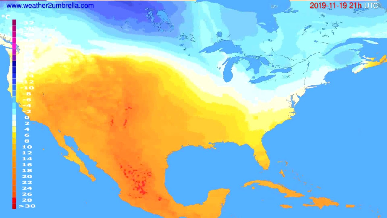 Temperature forecast USA & Canada // modelrun: 00h UTC 2019-11-18