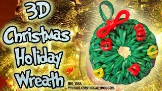 Rainbow Loom Tutorial Christmas Holiday Wreath Ornament Charm - How To