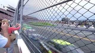 Pack Of NASCAR Car's Nearly Blow Old Lady Over