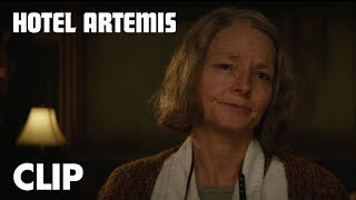 "VIDEO: HOTEL ARTEMIS – ""Verify Your Membership"" Clip"