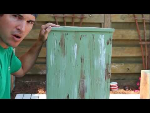 Distressed - CHECK OUT http://beachbumlivin.com for more cool stuff!!! How to paint furniture then distress it to give your furniture that antique finish. Refinishing and...