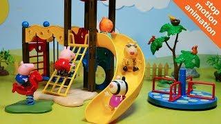 Свинка Пеппа и ее друзья играют на детской площадке. Мультик из игрушек Свинка Пеппа.