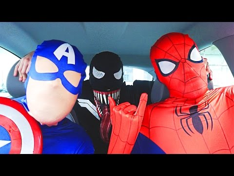 Superheroes Dancing in Car | Spiderman Venom Batman Flash & Captain America Funny Movie in Real Life