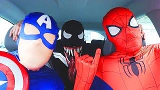 Superheroes Dancing in Car   Spiderman Venom Batman Flash & Captain America Funny Movie in Real Life