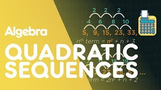 In this video we look at quadratic sequences, and how to find the nth term for them. In quadratic sequences, the first difference changes every time. So instead, we look at the second differences. If the second difference is constant, the sequence is quadratic. This means the nth term rule contains an n-squared term. For the sequence 5, 9, 15, 23, 33 start by finding the first and second differences. The second difference is constant at 2. Because there is a constant second difference so it's going to be n-squared. As the second difference is 2, it will be 1 n-squared. Always half the second difference. Now write out the original sequence: 5, 9, 15, 23, 33. And the 1n-squared underneath it: 1, 4, 9, 16, 25. Compare the difference. So 5 to 1 is 4. 8 to 4 is 4. 13 to 9 is 4, and so on. All you need to do is find the nth term of this sequence, and you have your quadratic nth term formula: n-squared + 4. For this sequence: 5, 12, 23, 38, 57, ... the second difference is 4 and so the quadratic will be 2n-squared as we have halved the second difference. Now write out the original sequence: 5, 12, 23, 38, 57 and 2 n-squared underneath it: 2, 8, 18, 32, 50. Find the difference between the two: 3, 4, 5, 6, 7. The nth term rule for this is n + 2. So the nth term rule for this quadratic formula is 2n2 + n + 2.SUBSCRIBE to the FuseSchool YouTube channel for many more educational videos. Our teachers and animators come together to make fun & easy-to-understand videos in Chemistry, Biology, Physics, Maths & ICT.VISIT us at www.fuseschool.org, where all of our videos are carefully organised into topics and specific orders, and to see what else we have on offer. Comment, like and share with other learners. You can both ask and answer questions, and teachers will get back to you.These videos can be used in a flipped classroom model or as a revision aid. Find all of our Chemistry videos here:https://www.youtube.com/watch?v=cRnpKjHpFyg&list=PLW0gavSzhMlReKGMVfUt6YuNQsO0bqSMV Find all of our Biology videos here: https://www.youtube.com/watch?v=tjkHzEVcyrE&list=PLW0gavSzhMlQYSpKryVcEr3ERup5SxHl0 Find all of our Maths videos here:https://www.youtube.com/watch?v=hJq_cdz_L00&list=PLW0gavSzhMlTyWKCgW1616v3fIywogoZQ Twitter: https://twitter.com/fuseSchoolAccess a deeper Learning Experience in the FuseSchool platform and app: www.fuseschool.orgFollow us: http://www.youtube.com/fuseschoolFriend us: http://www.facebook.com/fuseschoolThis Open Educational Resource is free of charge, under a Creative Commons License: Attribution-NonCommercial CC BY-NC ( View License Deed: http://creativecommons.org/licenses/by-nc/4.0/ ).  You are allowed to download the video for nonprofit, educational use. If you would like to modify the video, please contact us: info@fuseschool.org