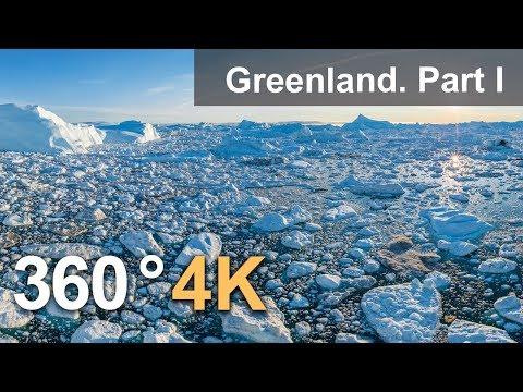 360°, Icebergs of Greenland. Part I. 4К aerial video