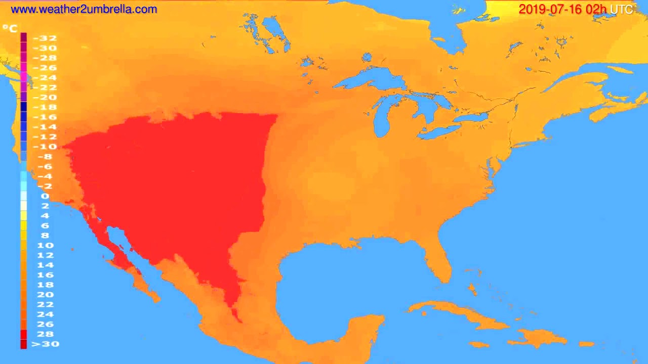 Temperature forecast USA & Canada // modelrun: 00h UTC 2019-07-14