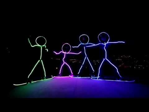 Snowboarding LED Stickmen