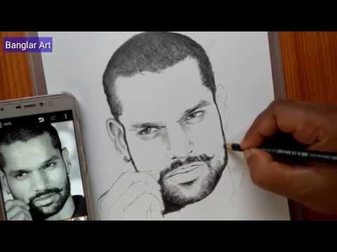 Shikhar Dhawan Easy Pencil Sketch | Easy Pencil Sketch For Beginners