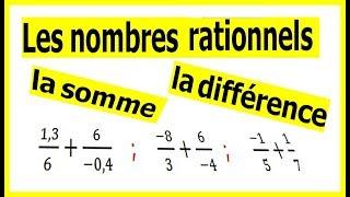 Maths 4ème - Les nombres rationnels Somme et Différence Exercice 6