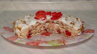 Кабачковый торт из блинчиков с помидорами на сковороде