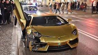 GOLD Lamborghini Aventador CAR CRASH in Warsaw on 1.01.2017