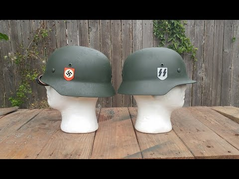 Double Decal German Waffen SS M35 Steel Helmet