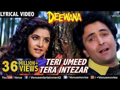 Video Teri Umeed Tera Intezar - LYRICAL VIDEO   Deewana   Rishi Kapoor, Divya Bharti   90's Romantic Song download in MP3, 3GP, MP4, WEBM, AVI, FLV January 2017
