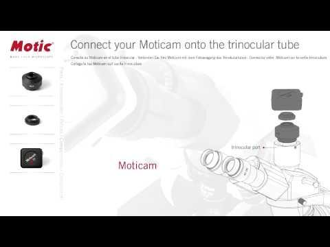 Sådan forbindes dit Moticam til trinokular røret