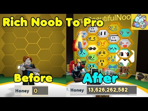 Rich Noob VS Bee Swarm Simulator #2! Noob To Pro! Made 30 Million Honey!
