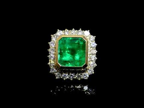 女裝14K黃金12.2克拉祖母綠寶石鑲鑽石戒指