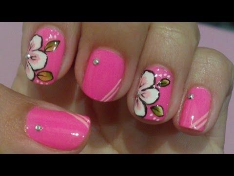 Unhas Decoradas Flor carga Dupla Rosa Manual Bela e Simples Nail Art